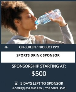 PPO Sport Drink product placement