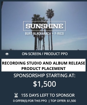 product placement opportunity in Sunshine
